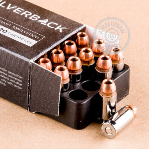 A photograph of 20 rounds of 230 grain .45 Automatic ammo with a Solid Copper Hollow Point (SCHP) bullet for sale.