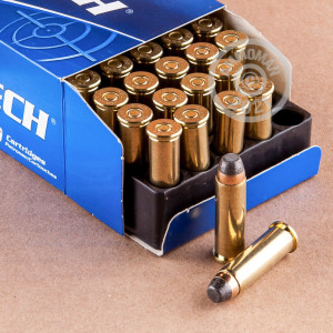 A photograph of 50 rounds of 125 grain 38 Special ammo with a Semi-Jacketed Soft-Point (SJSP) bullet for sale.