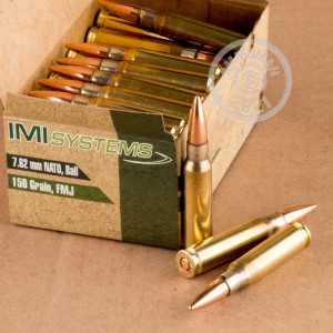 A photograph detailing the 308 / 7.62x51 ammo with FMJ bullets made by Israeli Military Industries.