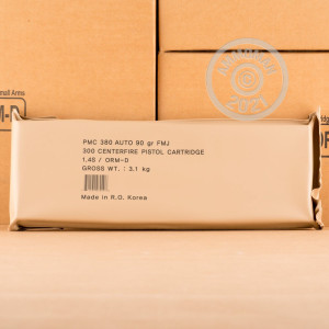 An image of bulk .380 Auto ammo made by PMC at AmmoMan.com.