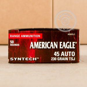 A photograph of 50 rounds of 230 grain .45 Automatic ammo with a Polymer Coated FMJ bullet for sale.