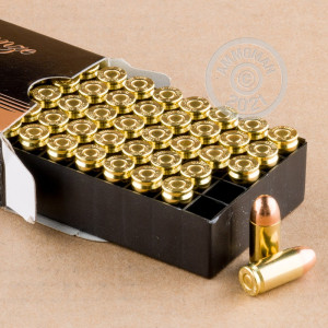 A photograph of 50 rounds of 90 grain .380 Auto ammo with a FMJ bullet for sale.