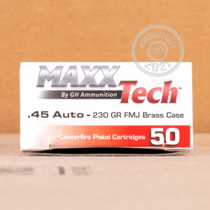 Image of .45 Automatic ammo by MaxxTech that's ideal for training at the range.