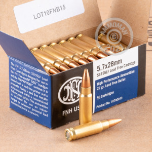 A photograph of 50 rounds of 27 grain 5.7 x 28 ammo with a JHP bullet for sale.