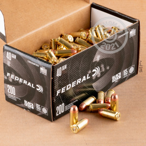 A photograph detailing the bulk .40 Smith & Wesson ammo with FMJ bullets made by Federal and commonly used for training at the range.