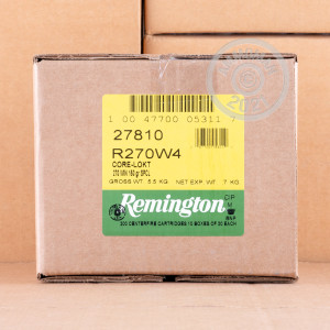 A photo of a box of Remington ammo in 270 Winchester.