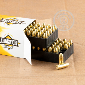 Image of bulk 9mm Luger ammo by Armscor that's ideal for training at the range.