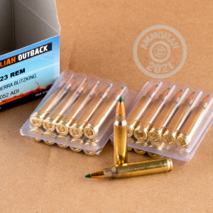 A photograph detailing the 223 Remington ammo with Polymer Tipped bullets made by Australian Outback.
