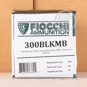 Photo detailing the 300 AAC BLACKOUT FIOCCHI 220 GRAIN HPBT MATCHKING (25 ROUNDS) for sale at AmmoMan.com.