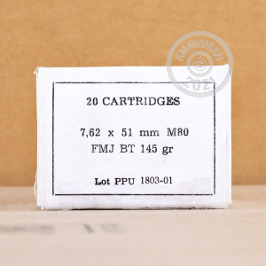 A photograph of 500 rounds of 145 grain 308 / 7.62x51 ammo with a FMJ-BT bullet for sale.