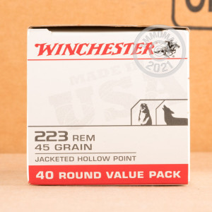 Photograph showing detail of 223 REMINGTON WINCHESTER USA VALUE PACK 45 GRAIN JHP (40 ROUNDS)