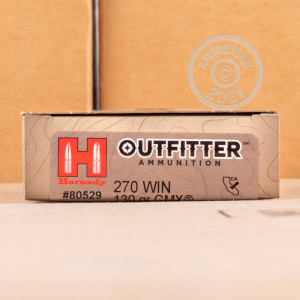 Image of 270 Winchester ammo by Hornady that's ideal for big game hunting, hunting wild pigs, whitetail hunting.