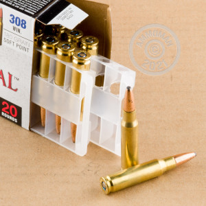 A photograph detailing the 308 / 7.62x51 ammo with soft point bullets made by Federal.