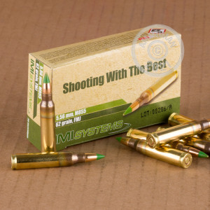 Image of bulk 5.56x45mm ammo by Israeli Military Industries that's ideal for home protection, training at the range.