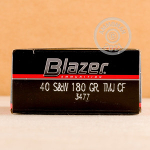 Image of .40 Smith & Wesson ammo by Blazer that's ideal for shooting indoors, training at the range.