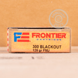 Photo detailing the 300 AAC BLACKOUT HORNADY FRONTIER 125 GRAIN FMJ (20 ROUNDS) for sale at AmmoMan.com.