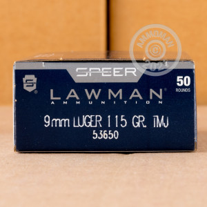 A photograph of 50 rounds of 115 grain 9mm Luger ammo with a TMJ bullet for sale.