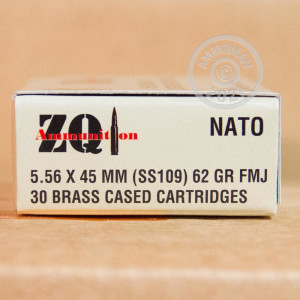 A photograph detailing the bulk 5.56x45mm ammo with FMJ bullets made by ZQI Ammunition.