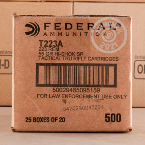 Image of the 223 REM FEDERAL LE TACTICAL 55 GRAIN SP (20 ROUNDS) available at AmmoMan.com.
