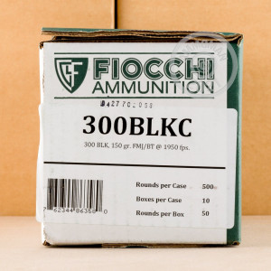 Photo detailing the 300 AAC BLACKOUT FIOCCHI 150 GRAIN FMJ (500 ROUNDS) for sale at AmmoMan.com.