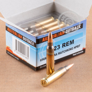 A photograph detailing the 223 Remington ammo with Hollow-Point Boat Tail (HP-BT) bullets made by Australian Outback.