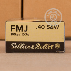 A photograph of 50 rounds of 165 grain .40 Smith & Wesson ammo with a FMJ bullet for sale.
