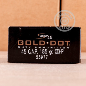 Image of .45 GAP ammo by Speer that's ideal for home protection.