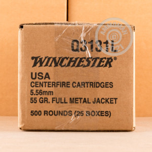 Photo detailing the 5.56X45 WINCHESTER 55 GRAIN FMJ M193 (500 ROUNDS) for sale at AmmoMan.com.