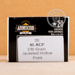 An image of .45 Automatic ammo made by Armscor at AmmoMan.com.