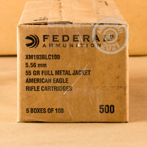 Photograph showing detail of 5.56 NATO FEDERAL AMERICAN EAGLE LAKE CITY M193 BALL 55 GRAIN FMJ (500 ROUNDS)