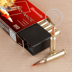 Image of 6.5 x 55 Swedish ammo by Hornady that's ideal for big game hunting, hunting wild pigs, whitetail hunting.