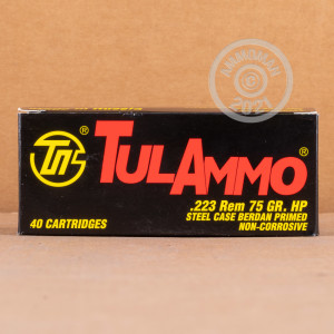 Photo detailing the 223 REMINGTON TULA 75 GRAIN HOLLOW POINT (40 ROUNDS) for sale at AmmoMan.com.