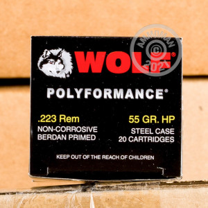 Image of 223 REM WOLF WPA POLYFORMANCE 55 GRAIN HP (20 ROUNDS)