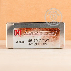 Photo detailing the 45-70 GOVERNMENT HORNADY LEVEREVOLUTION 325 FTX (20 ROUNDS) for sale at AmmoMan.com.