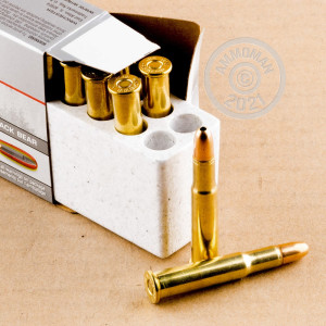 A photograph detailing the 30-30 Winchester ammo with JHP bullets made by Winchester.