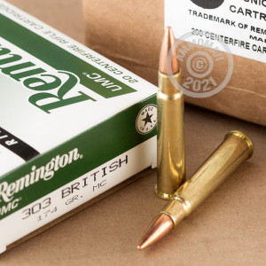 Image of 303 British ammo by Remington that's ideal for training at the range.