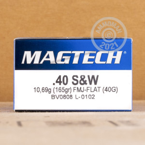 Photo of .40 Smith & Wesson full metal jacket flat-point ammo by Magtech for sale at AmmoMan.com.