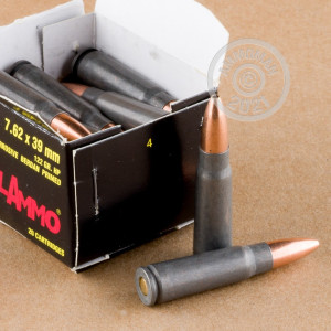 A photograph of 640 rounds of 122 grain 7.62 x 39 ammo with a HP bullet for sale.