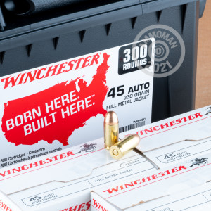 An image of bulk .45 Automatic ammo made by Winchester at AmmoMan.com.