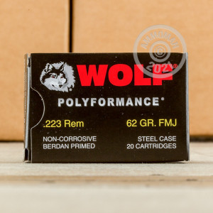 Photo detailing the 223 REMINGTON WOLF WPA POLYFORMANCE 62 GRAIN FMJ (20 ROUNDS) for sale at AmmoMan.com.