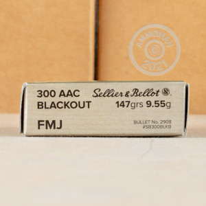 Image of the 300 AAC BLACKOUT SELLIER & BELLOT 147 GRAIN FMJ (20 ROUNDS) available at AmmoMan.com.