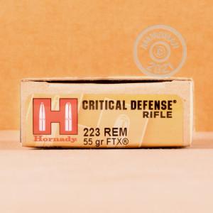 Image of the 223 REM HORNADY CRITICAL DEFENSE 55 GRAIN FTX (200 ROUNDS) available at AmmoMan.com.