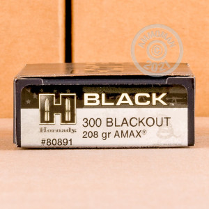 Photo detailing the 300 AAC BLACKOUT HORNADY BLACK 208 GRAIN A-MAX (200 ROUNDS) for sale at AmmoMan.com.