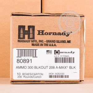 Image of the 300 AAC BLACKOUT HORNADY BLACK 208 GRAIN A-MAX (200 ROUNDS) available at AmmoMan.com.