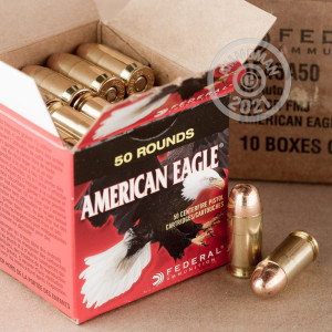 A photograph of 500 rounds of 230 grain .45 Automatic ammo with a FMJ bullet for sale.