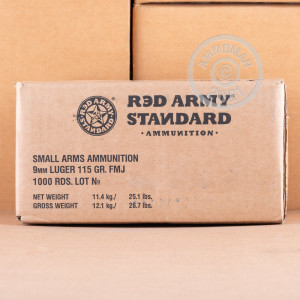 A photograph detailing the 9mm Luger ammo with FMJ bullets made by Red Army Standard.