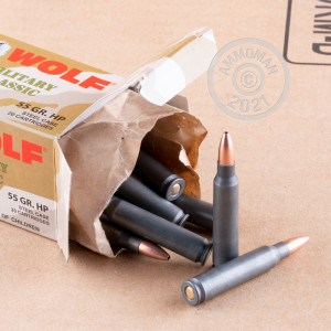 Image of the .223 REMINGTON WOLF MC WPA 55 GRAIN HP (500 ROUNDS) available at AmmoMan.com.