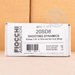 Photograph of Fiocchi 20 Gauge #8 shot for sale at AmmoMan.com
