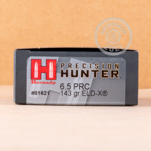 Photograph showing detail of 6.5 PRC HORNADY PRECISION HUNTER 143 GRAIN ELD-X (20 ROUNDS)