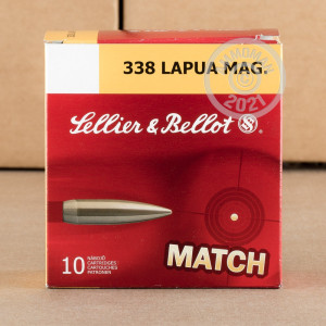 Photograph showing detail of .338 LAPUA SELLIER & BELLOT MATCH 250 GRAIN HPBT (100 ROUNDS)